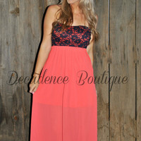 HE LOVES ME CORAL CHIFFON MAXI DRESS