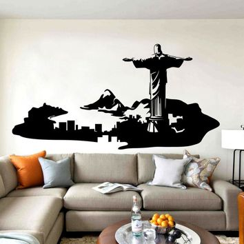 Rio De Janeiro Wall Decor Mural Home Livingroom Art Decorative Skyline Wall Sticker Brazil Art Van Creative Design Decal D-323