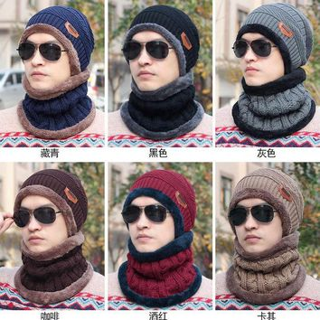 Fashion Men Crochet Knit Plicate Baggy Beanie Wool Hat Skull Winter Warm Cap +Scarf Men's Winter Warm Caps
