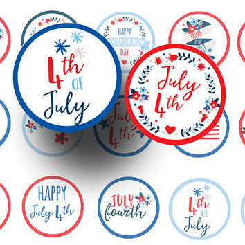 July 4th  bottle cap images -  July 4th digital collage sheet  -  1 inch circles -  Badge reels -  Cupcake toppers - Magnets - Stickers