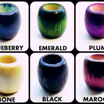Six Wood Dread Beads - Small Dread Beads Set - Emerald Blueberry Plum Maroon Bone Black - 6mm Hole