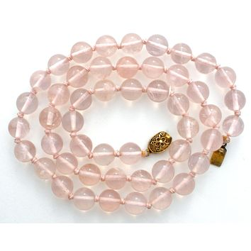 Pink Rose Quartz Knotted Bead Necklace 24.5""