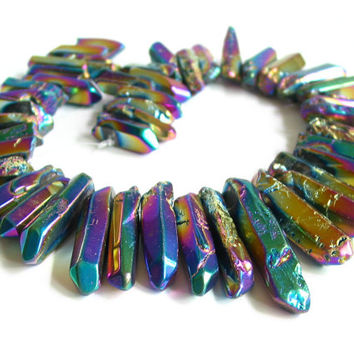 "15"" Rock Crystal GRADUATED tumbled SMOOTH thick point stick beads gemstone - Mystic Rainbow coated - long tusk chip - full / half strand"