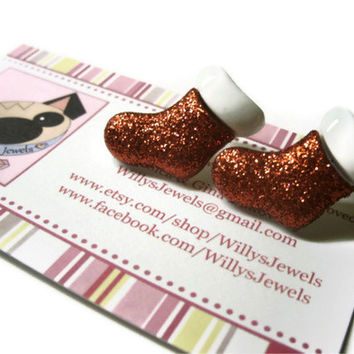 Christmas Stocking Earrings, Red Glitter Coating, Gold Toned Brass Posts.