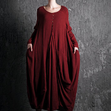 Red Linen Dress - Loose Fitting with Pockets Long Sleeves Long Maxi Dress - New 2015 Collection C398