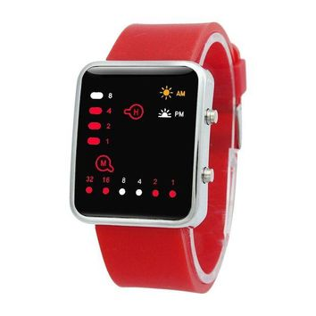 VONG2W Unisex Silicone Sport Watch Red LED Digital Binary Wrist Sport Item Color:red