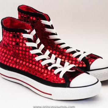 Red & Black Sequin Hi Top Converse Sneakers Shoes