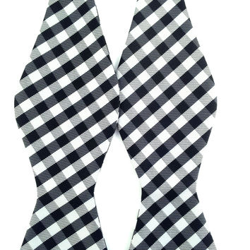 Black White Grey Checkered - Self-Tied Bow Tie