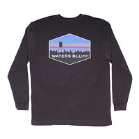 Midnight Tower Long Sleeve Tee in Charcoal by Waters Bluff - FINAL SALE