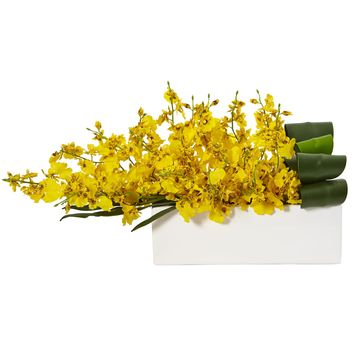Artificial Flowers -Dancing Lady Orchid Yellow in Rectangular Ceramic