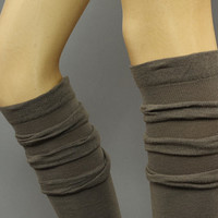 Ruffle The Knee Socks  - Ruffle Socks, knee socks, brown, boot socks - leg warmers