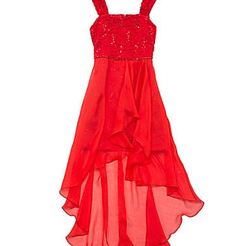 Tween Diva 7-16 Lace-Bodice Hi-Low Chiffon Dress - Red
