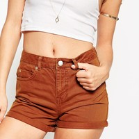 ASOS Denim Mom Short in Tobacco With Turn Ups