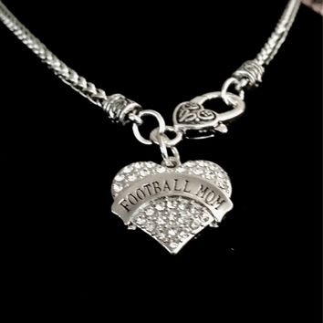 Football Mom Rhinestone Heart Necklace~Sports Mom~Crystal Heart Pendant~football Bling~US Seller~FAST Shipping!