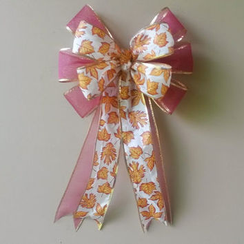 Fall Bow, Fall Leaf Bow,  Fall Wreath Bow, Thanksgiving Decoration, Autumn Decoration, Stair Rail Door Mailbox Mantel Decor