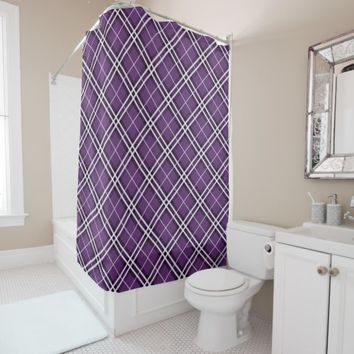 Purple, Black and White Tartan Plaid Patterned Shower Curtain