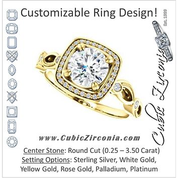 Cubic Zirconia Engagement Ring- The Angela (Customizable Whimsical Sculpture Halo-Style with Round Center)