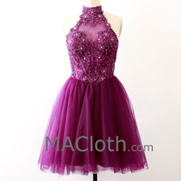 High Neck with Crystals Short Lace Tulle Grape Homecoming / Prom Dress