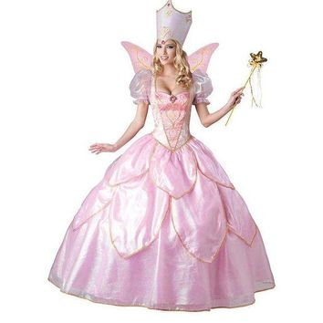 DCCKH6B Hot Sexy Elegant Deluxe Fairy Godmother Costume Adult Glinda Wizard of Oz Halloween Fancy Dress