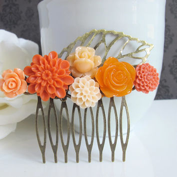 Autumn Orange. Orange Chrysanthemum Nature Autumn Fall Inspired Hair Comb. Bridal Country Style Wedding Bridesmaids Gift For Mother, HER