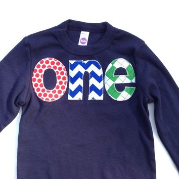 Long Sleeve Birthday Shirt  in NAVY tee with red, blue green- dots, chevron, kelly argyle- 1st Birthday