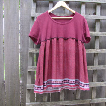 Maroon Baby Doll Dress Shirt/ Eco Upcycled Tunic Top/ Casual Sustainable Womens Shirts Hemp Cotton Rayon Medium Large