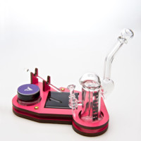 All-in-One Keystone Set by Purr - Glass Dab Rig, Nail, Dome, & Pink Stand