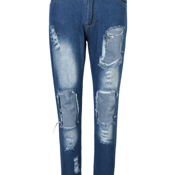Blue High Waist Ripped Front Boyfriend Jeans