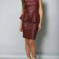 Red Faux Leather Strapless Peplum Dress