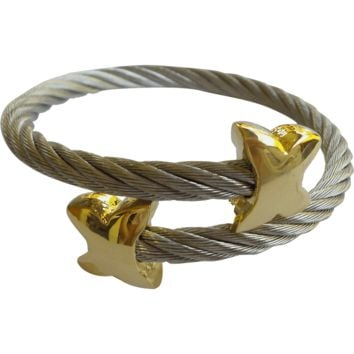 Stainless Steel Twisted Cable Cuff Bracelet - Butterfly Tips