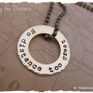 Pick a Phrase - Brass long distance relationship necklace
