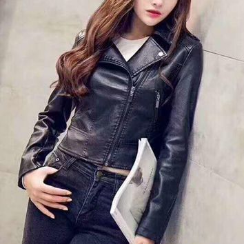 PEAPUF3 Fashion Womens Faux Leather Fully Lined Long Sleeve Biker Jacket G-A-GHSY-1