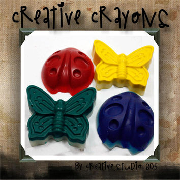 LADYBUG and BUTTERFLY - shaped crayons - birthday party favors - baby shower favors - christmas stocking stuffers