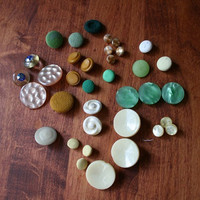 Vintage Shank Buttons in White, Yellow, Black, and Green