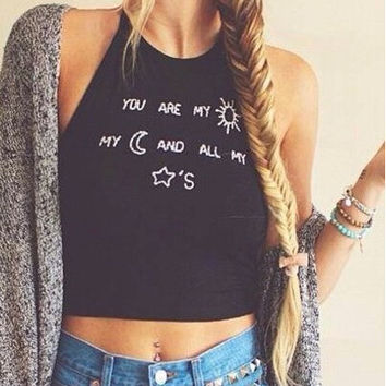 SLEEVELESS ROUND NECK LETTER CASUAL SHIRTS