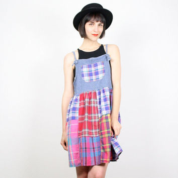c58219755f Vintage 90s Dress Grunge Dress Overalls Dress Rainbow Plaid Blue