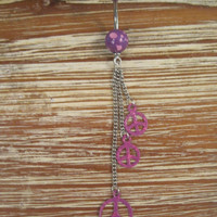Belly Button Ring - Body Jewelry - Purple and Pink Dangling Peace Signs