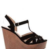 Braided T Strap Wooden Wedges