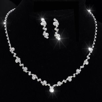 Silver Tone Crystal Tennis Choker Necklace Set Earrings bridal jewelry Wedding Bridesmaid African Jewelry Sets jewelry sets