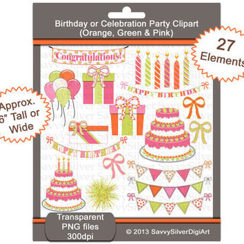 Digital Birthday Clipart -Pink Orange Green Printable Party Clip Art - Scrapbook, Invites, Cake Balloons Candles, INSTANT DOWNLOAD CA58