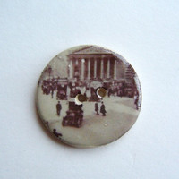 London memories A handmade ceramic sew on button by hodgepodgearts