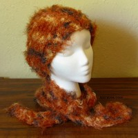 Soft Red Hickory Brown Hat and Scarf Set