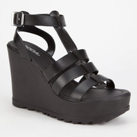 Soda Cabbot Chunky Platform Gladiator Heels Black  In Sizes