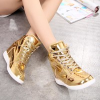 2017 NEW ARRIVE  FEMALE  Student's leisure shoes GOLD and SILVER color platform shoes casual shoes women's cool SHOES