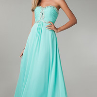 Strapless Empire Waist Chiffon Gown