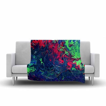"Claire Day ""Free Falling"" Green Abstract Fleece Throw Blanket"