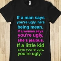 How To Define Ugly-Female Black T-Shirt