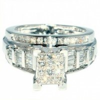 10K White Gold Princess Cut 3 in 1 Diamond Engagement Ring @ Jewelry Wonder
