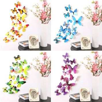 12Pcs/Lot 3D DIY Wall Sticker Stickers Butterfly Home Decor For Fridge Kitchen Living Room Decoration Dropshipping M925