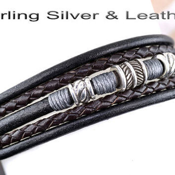 B-312 Solid Sterling Silver & Leather Feather Wristband Bangle Men Bracelet